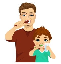 Father and son brushing teeth vector