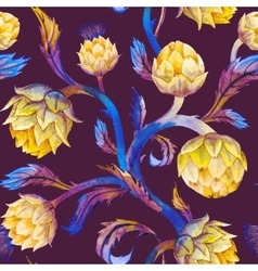 Watercolor art nouveau artichoke pattern vector