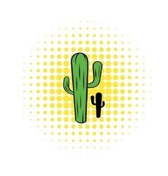 Cactus icon in comics style vector image
