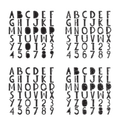 Fat fonts collection with rough grungy decorative vector