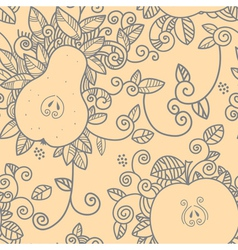 Apple and pear seamless pattern vector