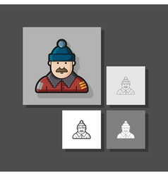 a set of unique characters contour different vector image vector image