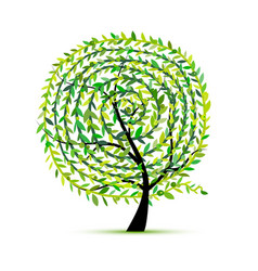 art tree with leaf spiral ornament vector image vector image