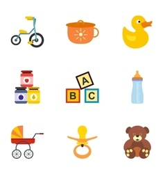 Baby icons set flat style vector