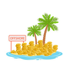 Big piles of gold coins lying on a tropical island vector