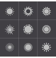 black sun icons set vector image