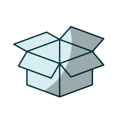 Blue shading silhouette of box of cardboard opened vector