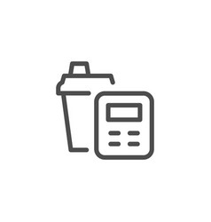 calorie counting line icon vector image vector image