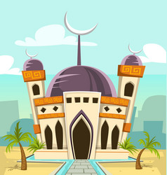 cartoon tall mosque building with river park and vector image vector image