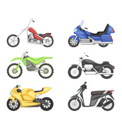 Chopper cruiser sport bike and others types of vector