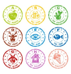 cute ABC stamps vector image vector image