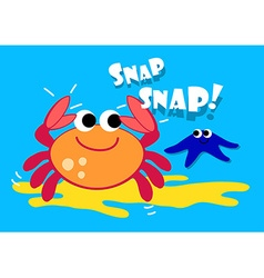Cute crab and starfish under the sea vector image vector image