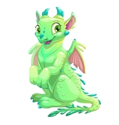 Cute friendly sitting green dragon vector image vector image