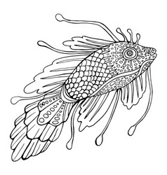 fantasy fish coloring page for children and vector image vector image