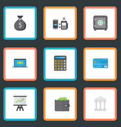 Flat icons billfold accounting remote paying and vector