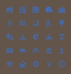 Franchise line icons blue color vector