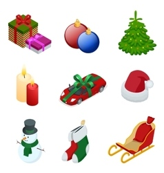 Isometric xmas elements gift christmas tree new vector