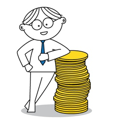 Lucky man with a stack of coins vector image vector image