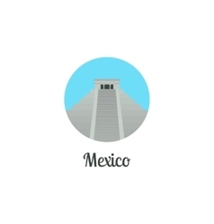 Mexico landmark isolated round icon vector image vector image