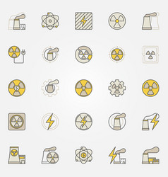 Nuclear power colorful icons set vector