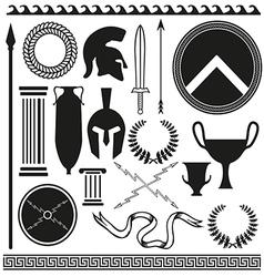 Old greek roman spartan set icons vector