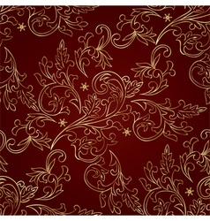 Red gold floral vintage seamless pattern backgroun vector image