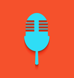 Retro microphone sign whitish icon on vector