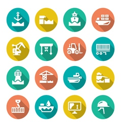 Set flat icons of seaport vector image vector image