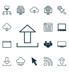 Set of 16 internet icons includes team pc vector