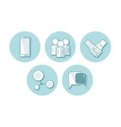 set of flat icon communication vector image