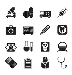 Silhouette medical and health care icons vector image