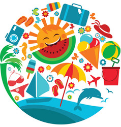 Summer vacation template of summer icons vector
