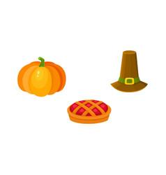 Thanksgiving set - pumpkin fruit pie pilgrim hat vector