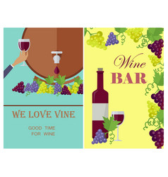 we love wine template poster with attributes vector image