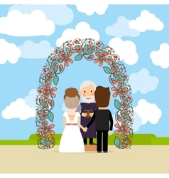 Wedding ceremony near floral arch vector