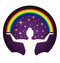 yogi and rainbow vector image