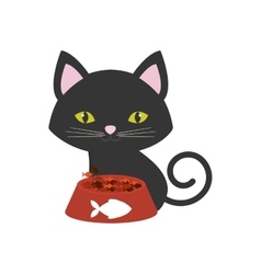 Cat pink ears green eyes plate food fish print vector