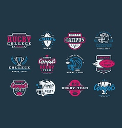 Badges set of campus rugby team vector