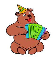 bear plays the harmonica icon cartoon vector image