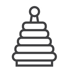 Rainbow pyramid toy line icon kid and play vector