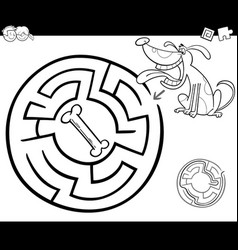 Maze with dog coloring page vector