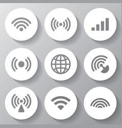 Wireless white icons set vector
