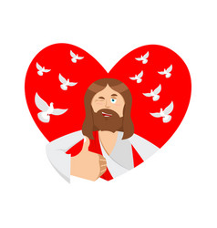 love of jesus christ and heart thumb up biblical vector image