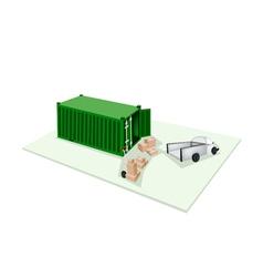 Hand truck loading cardboard box into container vector
