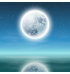 Full moon with reflection on water at night vector