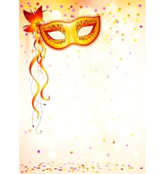 Orange carnival mask on pink bokeh light vector image