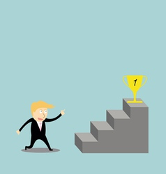 Businessman climbing the ladder of success vector