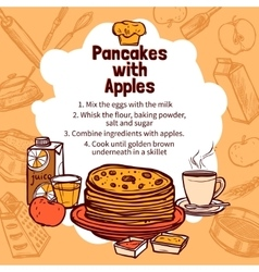 Sketch of apple pancakes recipe vector