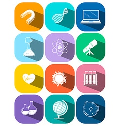 Science and technology symbols on buttons vector