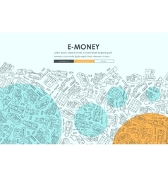 E-money doodle website template design vector